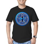 Blue-Silver Goddess Pentacle Men's Fitted T-Shirt