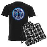 Blue-Silver Goddess Pentacle Men's Dark Pajamas