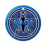 Blue-Silver Goddess Pentacle Ornament (Round)