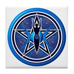 Blue-Silver Goddess Pentacle Tile Coaster