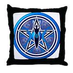 Blue-Silver Goddess Pentacle Throw Pillow