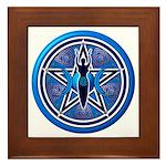 Blue-Silver Goddess Pentacle Framed Tile