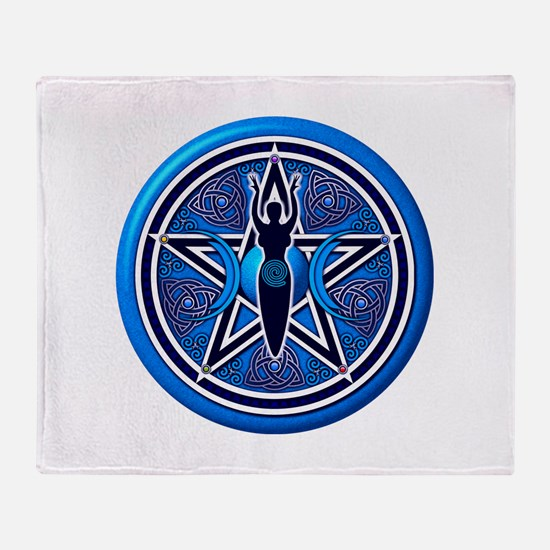 Blue-Silver Goddess Pentacle Throw Blanket