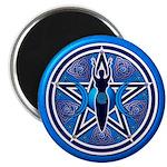 Blue-Silver Goddess Pentacle Magnet