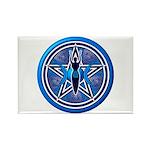 Blue-Silver Goddess Pentacle Rectangle Magnet