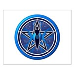 Blue-Silver Goddess Pentacle Small Poster