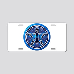 Blue-Silver Goddess Pentacle Aluminum License Plat