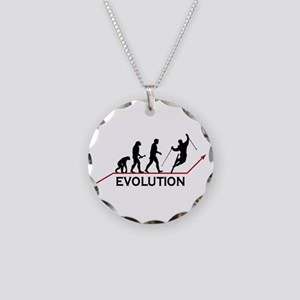 Skiing Evolution Necklace Circle Charm