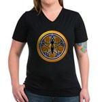 Gold-Blue Goddess Pentacle Women's V-Neck Dark T-S