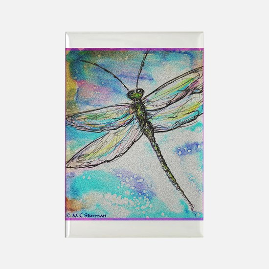 Dragonfly, colorful, Rectangle Magnet