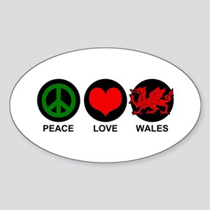 Peace Love Wales Sticker (Oval)