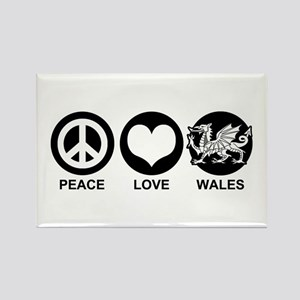 Peace Love Wales Rectangle Magnet