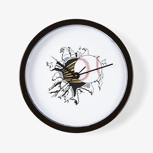 Baseball Burster Wall Clock