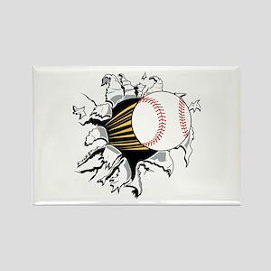 Baseball Burster Rectangle Magnet