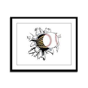 Baseball Burster Framed Panel Print
