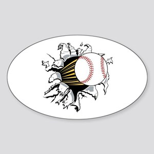 Baseball Burster Sticker (Oval)