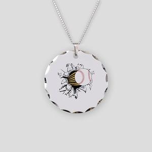 Baseball Burster Necklace Circle Charm