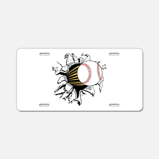 Baseball Burster Aluminum License Plate