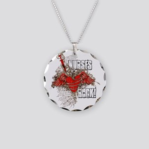 Nurses Rock Necklace Circle Charm