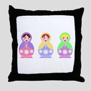 3 Matryoshka Throw Pillow
