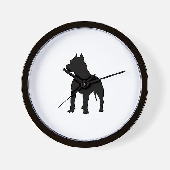 Pitbull Silhouette Wall Clock