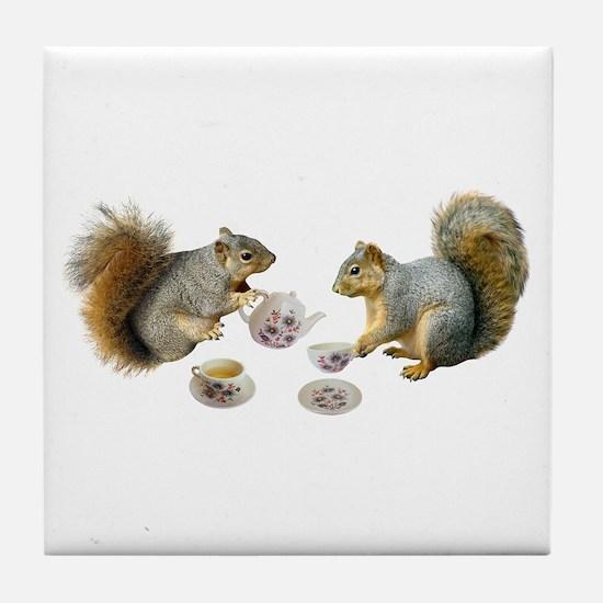 Squirrels Tea Party Tile Coaster
