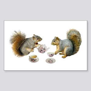 Squirrels Tea Party Sticker (Rectangle)