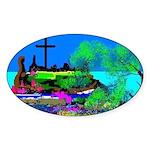 Christmas Christian Artwork Sticker (Oval)