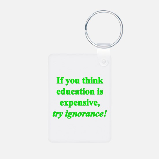 Education quote (green) Keychains