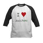 I Love Zucchini Kids Baseball Jersey
