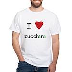 I Love Zucchini White T-Shirt
