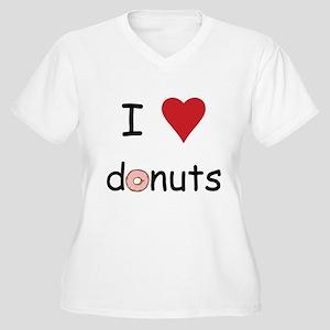 I Love Donuts Women's Plus Size V-Neck T-Shirt
