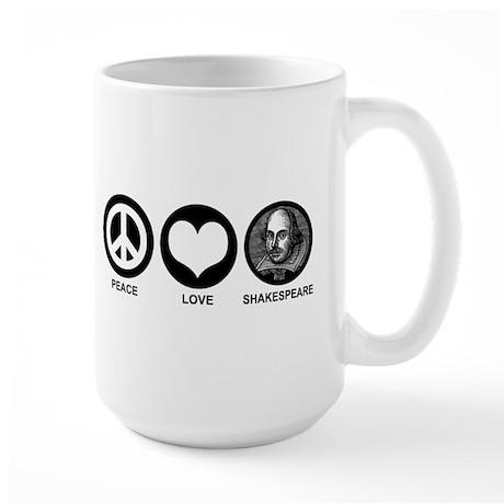 Peace Love Shakespeare Large Mug