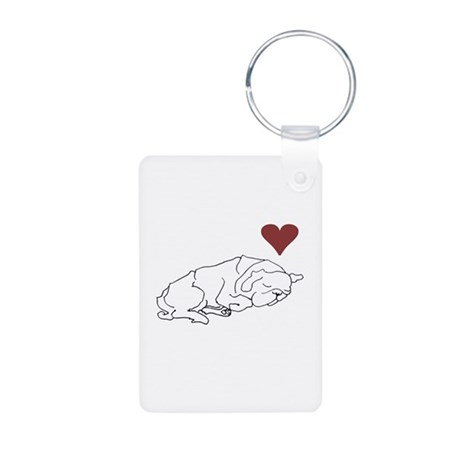 Sleeping Pug Aluminum Photo Keychain