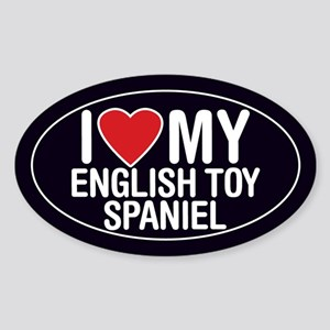I Love My English Toy Spaniel Oval Sticker/Decal