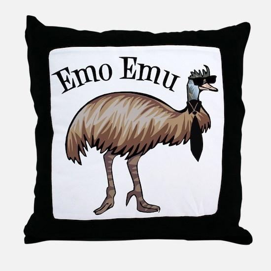 Emo Emu Throw Pillow