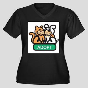 adopt animals Women's Plus Size V-Neck Dark T-Shir