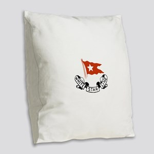 White Star Logo Burlap Throw Pillow