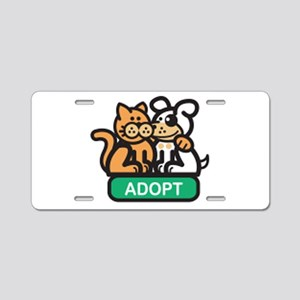 adopt animals Aluminum License Plate