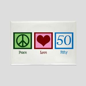 Peace Love 50 Rectangle Magnet