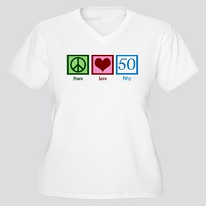 Peace Love 50 Women's Plus Size V-Neck T-Shirt