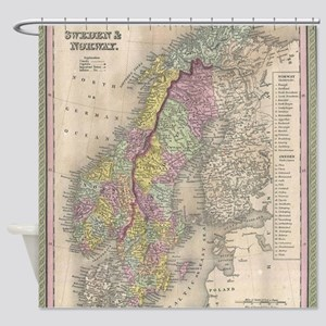 Vintage Map of Scandinavia (1850) Shower Curtain