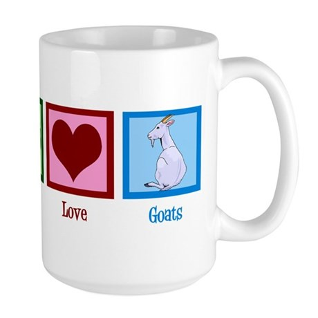 Peace Love Goats Large Mug