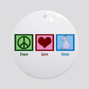 Peace Love Goats Round Ornament