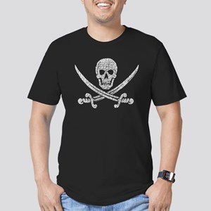 Distressed Jolly Roger Men's Fitted T-Shirt (dark)