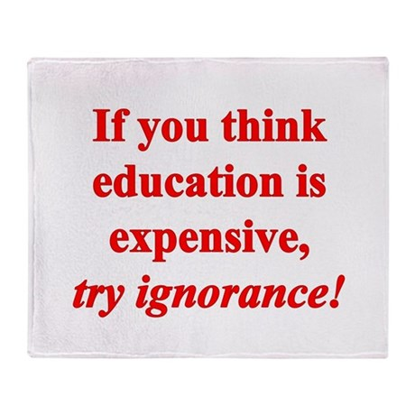 Education quote (Red) Throw Blanket