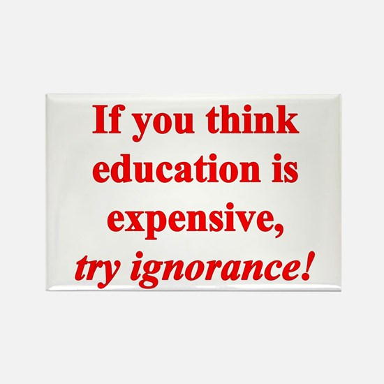 Education quote (Red) Rectangle Magnet (10 pack)