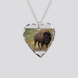 Bison Necklace Heart Charm