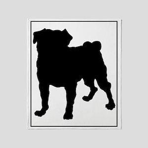 Pug Silhouette Throw Blanket