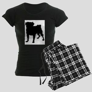 Pug Silhouette Women's Dark Pajamas